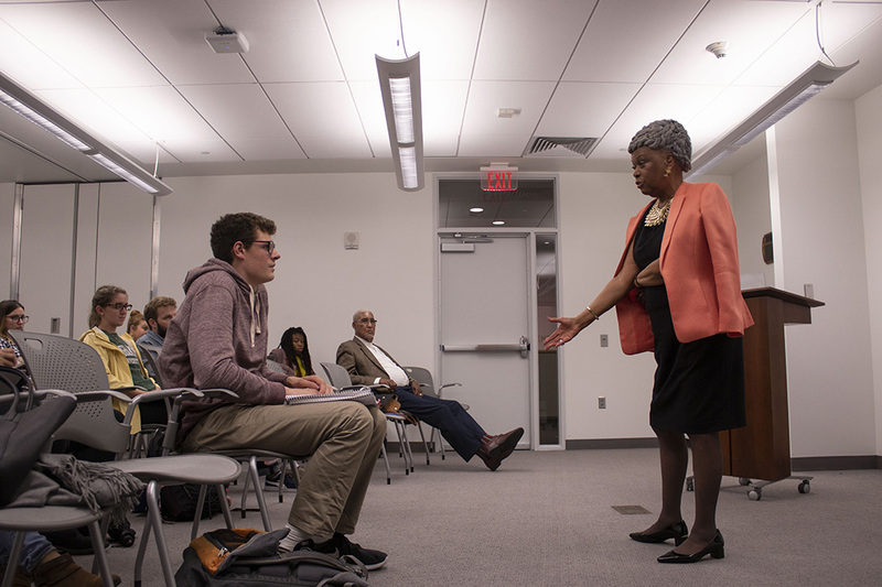 Harriet Elam-Thomas, a former U.S. ambassador, spoke at SU on Wednesday.