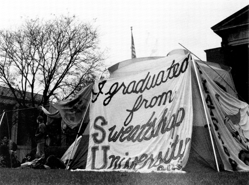 in 2001 united students against sweatshops protested sus purchase of apparel from companies with poor working conditions on the quad
